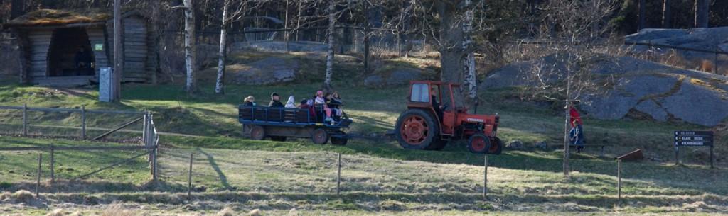 Traktor och vagn brukar vara en favorit